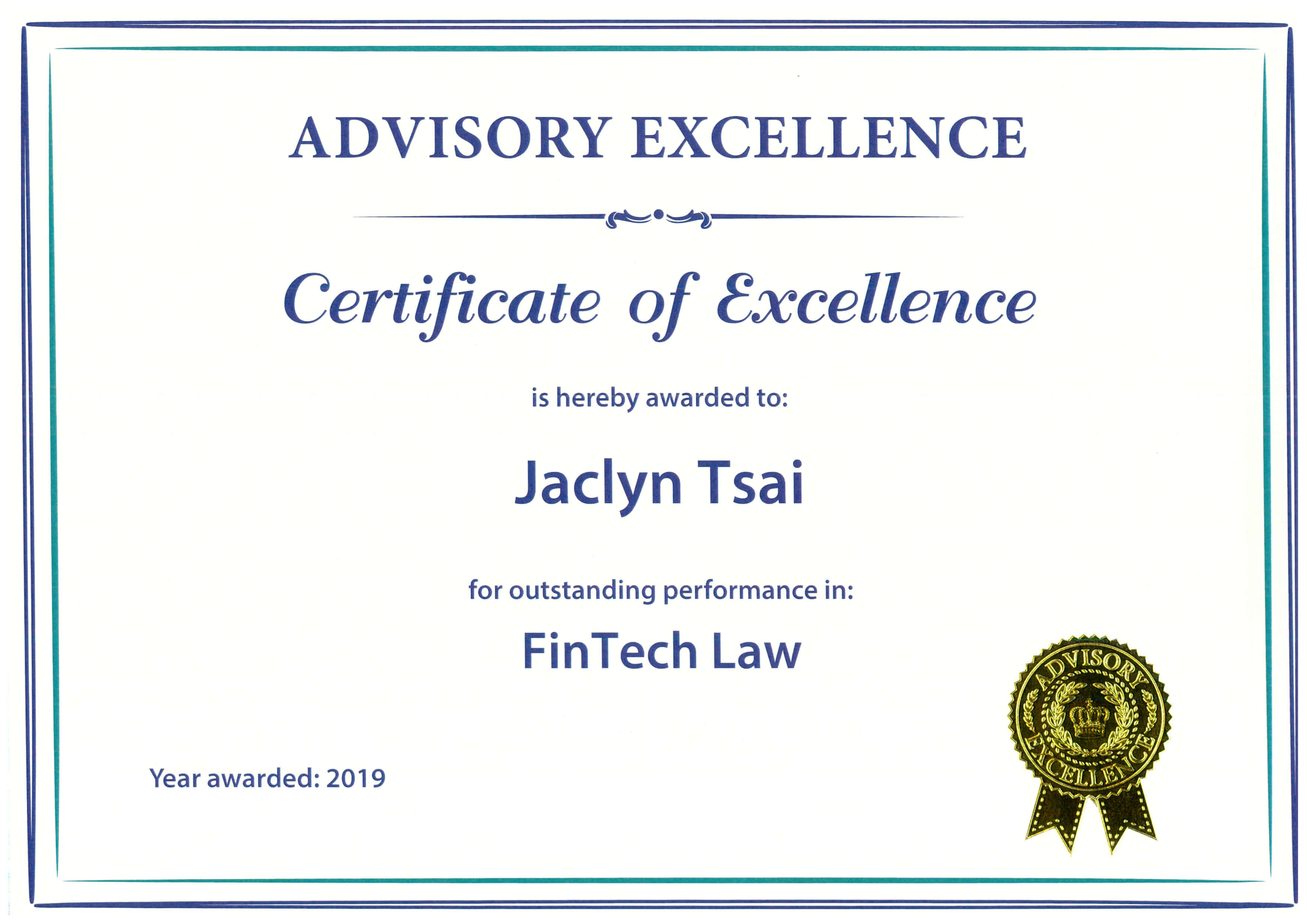 Certificate-of-Excellence--FinTech-Law--Jaclyn-Tsai-(Advisory-Excellenece)20190725